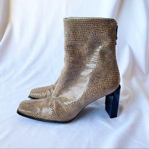 Stuart Weitzman Leather Snake Skin Print Tan Boots
